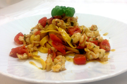 Tagliatelle home made pasta Shell fish and basil