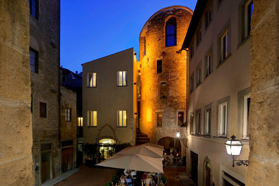 Dining in a tower in Florence
