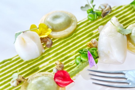 Buttons Capri style with cabbage, squids with provola cheese, emulsion of peas